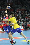 Raul Entrerrios (Spain) and Max Darj (Sweden) during the EHF 2018 Men's European Championship, Final Handball match between Spain and Sweden on January 28, 2018 at the Arena in Zagreb, Croatia - Photo Laurent Lairys / ProSportsImages / DPPI