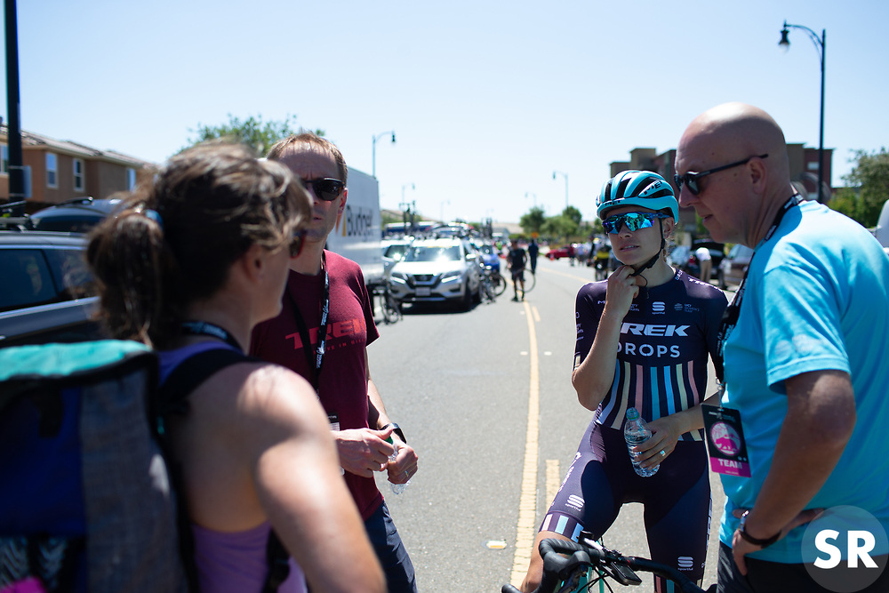 Tayler Wiles (USA) of Trek-Drops Cycling Team chats to team manager Bob Varney after Stage 1 of the Amgen Tour of California - a 124 km road race, starting and finishing in Elk Grove on May 17, 2018, in California, United States. (Photo by Balint Hamvas/Velofocus.com)