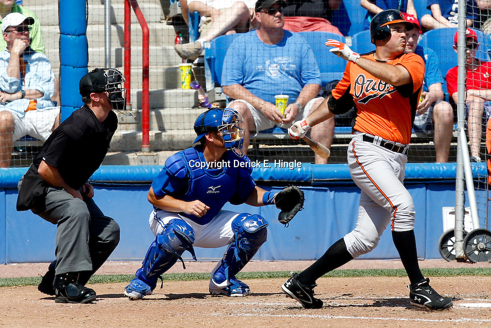 March 12, 2012; Dunedin, FL, USA; Baltimore Orioles first baseman Nick Johnson (36) at bat during the top of the sixth inning of a spring training game against the Toronto Blue Jays at Florida Auto Exchange Stadium. Mandatory Credit: Derick E. Hingle-US PRESSWIRE