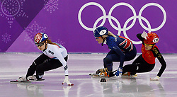 February 17, 2018 - Gangneung, South Korea - Short track speed skater Jinyu Li of China crashes into Elise Christie of Great Britain during the Ladies's Short Track Speed Skating 1500M semifinals at the PyeongChang 2018 Winter Olympic Games at Gangneung Ice Arena on Saturday February 17, 2018. (Credit Image: © Paul Kitagaki Jr. via ZUMA Wire)