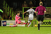Forest Green Rovers goalkeeper Bradley Collins(1) does enough to stop Swansea City's Courtney Baker-Richardson from scoring during the EFL Trophy match between Forest Green Rovers and U21 Swansea City at the New Lawn, Forest Green, United Kingdom on 31 October 2017. Photo by Shane Healey.