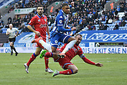 Wigan Athletic Defender, Reece Wabara evades a challange during the Sky Bet League 1 match between Wigan Athletic and Oldham Athletic at the DW Stadium, Wigan, England on 13 February 2016. Photo by Mark Pollitt.