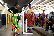 Margaret Akitela being weighed at the Maternal Child Health clinic, Lodwar District Hospital, Turkana, northern Kenya.