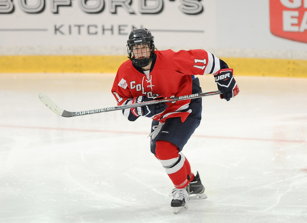 PITTSBURGH, PA - OCTOBER 15:  Natalie Fraser #11 of the Robert Morris Colonials skates in the third period during the game at 84 Lumber Arena on October 15, 2016 in Pittsburgh, Pennsylvania. (Photo by Justin Berl)
