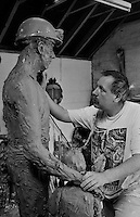 Sculptor Graham Ibbotson at work on his commission for the NUM Yorkshire Area memorial. Barnsley 20/5/92