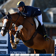 03.08.2018 The Longines Global Champions Tour Show jumping at The Royal Hospital Chelsea London UK Global Champions League of London for teams with the Royal Chelsea hospital in the background GCL Team  Competition Yuri Mansur BRA riding Inferno for team Paris Panthers