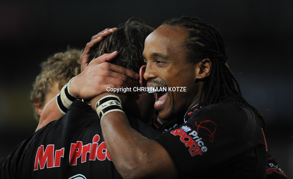 Keegan Danie(C)l of the Mr Price Sharks and Odwa Ndungane of the Mr Price Sharks<br /> &copy;Backpagepix