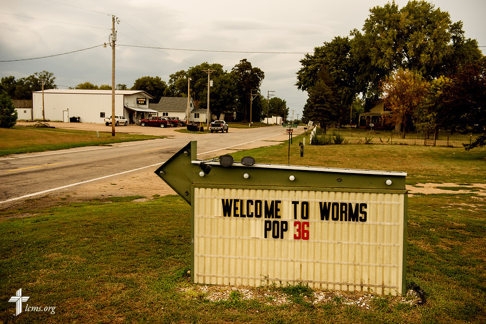 A welcome sign to Worms, Neb., on Saturday, Sept. 23, 2017. LCMS Communications/Erik M. Lunsford