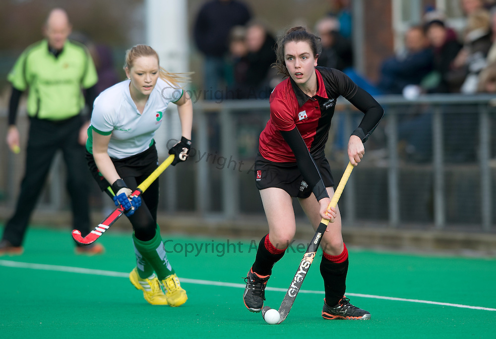 Bowdon's Sian French during their Investec Women's Hockey League Premier Division game at Canterbury HC, 8th February 2014.