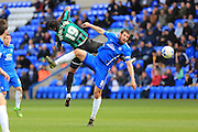 Michael Bostwick, Nathaniel Mendez-Laing during the Sky Bet League 1 match between Peterborough United and Rochdale at London Road, Peterborough, England on 9 April 2016. Photo by Daniel Youngs.