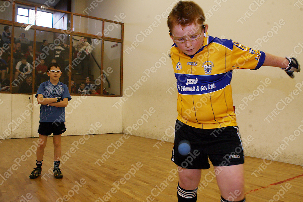 Matt McCabe and Kevin Mulcaire playing handball in Clarecastle on Saturday morning.<br /> Photograph by Yvonne Vaughan