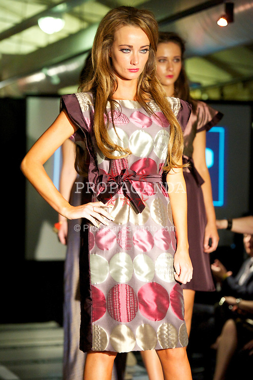 LIVERPOOL, ENGLAND - Friday, October 19, 2012: Models wear the spring summer collection from designer Masato Jones on the catwalk at the Liverpool Maritime Museum during Liverpool Fashion Week. (Pic by David Rawcliffe/Propaganda)