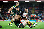 New Zealand's Joseph Tapine tries to find a way through during the Ladbrokes Four Nations match between Australia and New Zealand at Anfield, Liverpool, England on 20 November 2016. Photo by Craig Galloway.