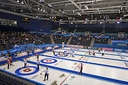 Glasgow. SCOTLAND. General View, of teams competing on the second day of the Round Robin games at the  Le Gruyère European Curling Championships. 2016 Venue, Braehead  Scotland<br /> Sunday  20/11/2016<br /> <br /> [Mandatory Credit; Peter Spurrier/Intersport-images]
