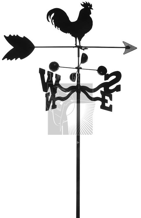 iron weathervane isolated on white