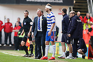 Reading manager Nigel Adkins shouts to the referee who won't let Kaspars Gorkss of Reading back on after a head injury during the Sky Bet Championship match at The Valley, London<br /> Picture by Andrew Tobin/Focus Images Ltd +44 7710 761829<br /> 05/04/2014