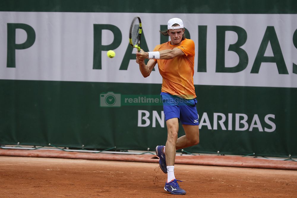 May 21, 2019 - Paris, France - Arthur De Greef during the match between Arthur De Greef of BEL vs Illya Marchenko of UKR in the first round qualifications of 2019 Roland Garros, in Paris, France, on May 21, 2019. (Credit Image: © Ibrahim Ezzat/NurPhoto via ZUMA Press)