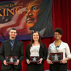 Oratorical contest winners: L-R-- Anthony Smith, 3rd; Kailey Grubb, 2nd; and winner Shelbie Moore. The Dr. Martin Luther King Jr. Community Peace Brunch today in the Student Activity Center's Small Sports Forum, featured the Dr. Martin Luther King Jr. Oratorical Contest, as well as remarks from President George E. Ross and Robert Newby, professor emeritus of sociology, anthropology and social work.  Central Michigan University photo by Steve Jessmore