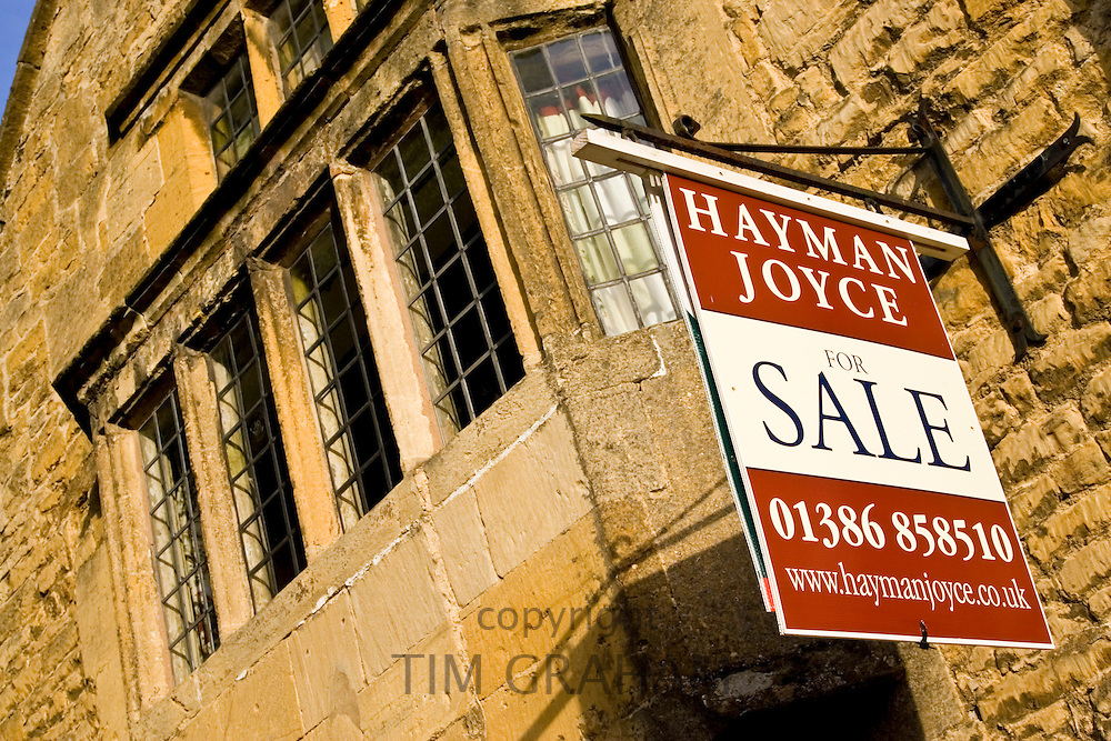 For Sale sign for Hayman Joyce Estate Agency, Chipping Campden, Gloucestershire, UK