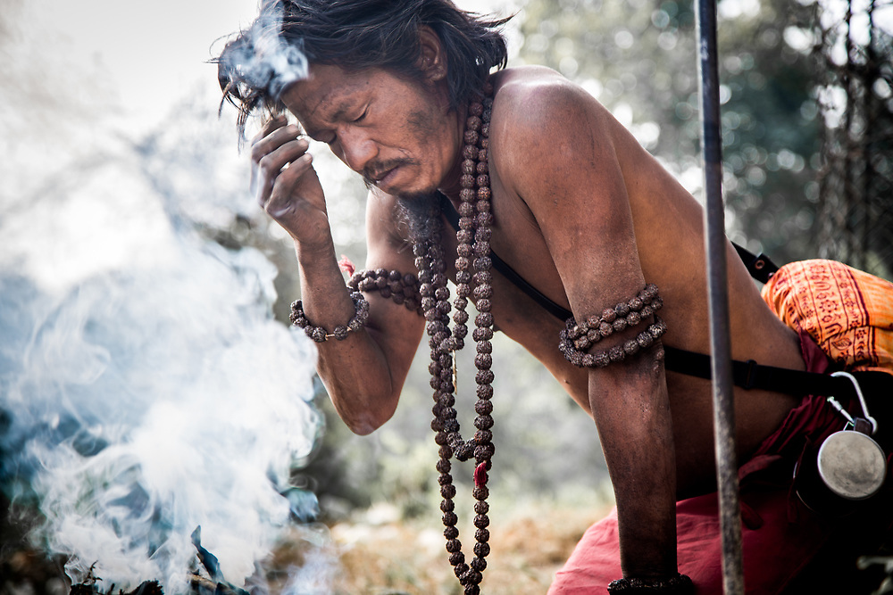 "Kathmandu, Nepal. This Sadhu, worshipper of lord Siva is bound to apply on his forehead the sacred ash also called ""Vibhuti"".<br />