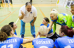 Simon Bozic, coach of Slovenia with players during friendly Sitting Volleyball match between National teams of Slovenia and China, on October 22, 2017 in Sempeter pri Zalcu, Slovenia. (Photo by Vid Ponikvar / Sportida)
