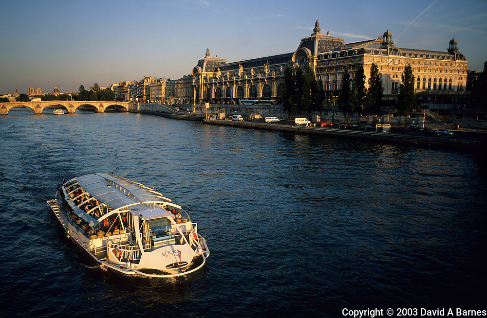 Musee d'Orsay (Orsay Museum), Pont Royal, tour boat, Seine, Paris, France