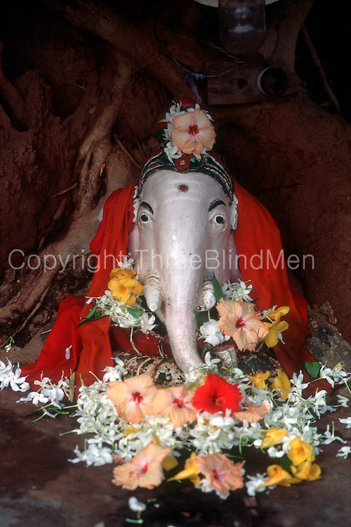 Sri Lanka..Ganesh at base of a tree just north of Batiicaloa town.