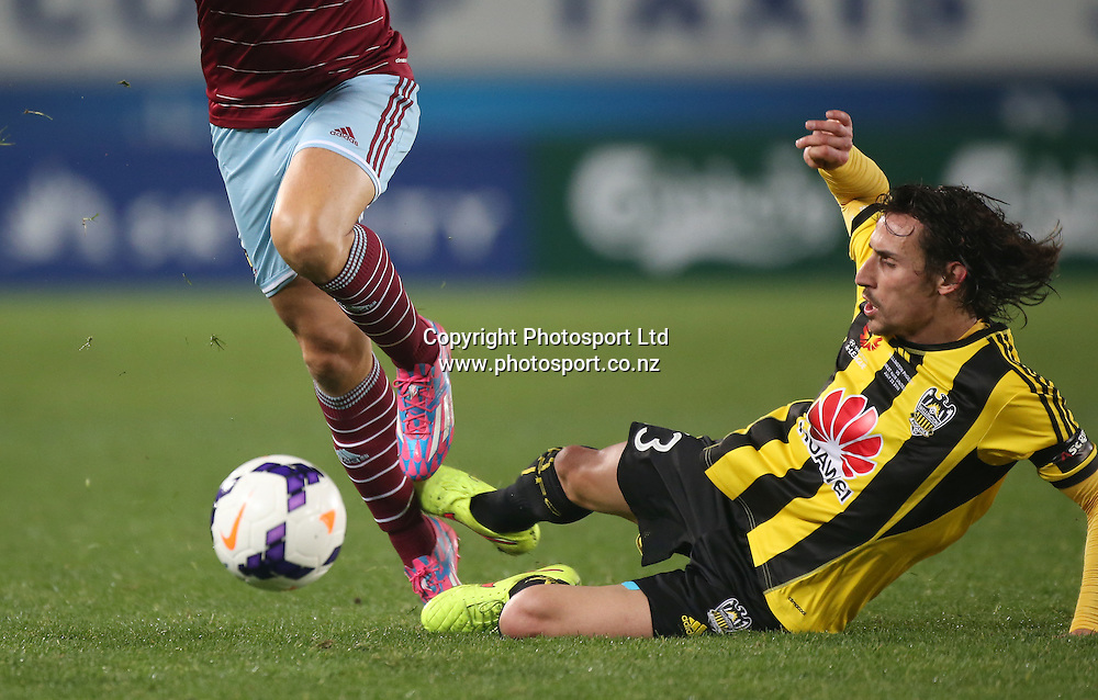 Albert Riera of the Wellington Phoenix in action during the Wellington Phoenix vs West Ham United football match played at Eden Park in Auckland on 23 July 2014. The Phoenix won the match 2-1. <br /> Credit; Peter Meecham/ www.photosport.co.nz