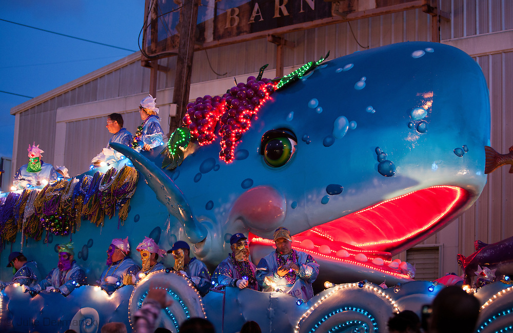 New Orleans, Louisiana, Feb 19, 2012, Float with a giant whale on it in the line of floats for the Bacchus Mardi Gras Parade in New Orleans.