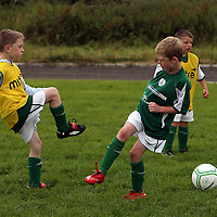 Jason Linnane and Joseph Minitor at the Moneypoint FC Summer Soccer Camp in Kilrush on Wednesday.<br /> Photograph by Yvonne Vaughan
