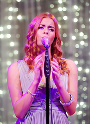 CARDIFF, WALES - Monday, October 8, 2012: Sophie Evans performs during the FAW Player of the Year Awards Dinner at the National Museum Cardiff. Sophie was the runner-up on BBC One's TV show Over The Rainbow and played Dorothy in Andrew Lloyd Webber production of The Wizard of Oz at the London Palladium. (Pic by David Rawcliffe/Propaganda)