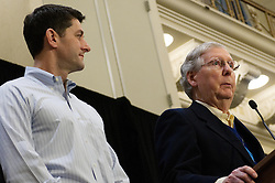 Speaker of the House Paul Ryan and Senate Majority Leader Mitch McConnell at a press conference during the January 26th, 2017 GOP Retreat in Philadelphia, Pennsylvania.