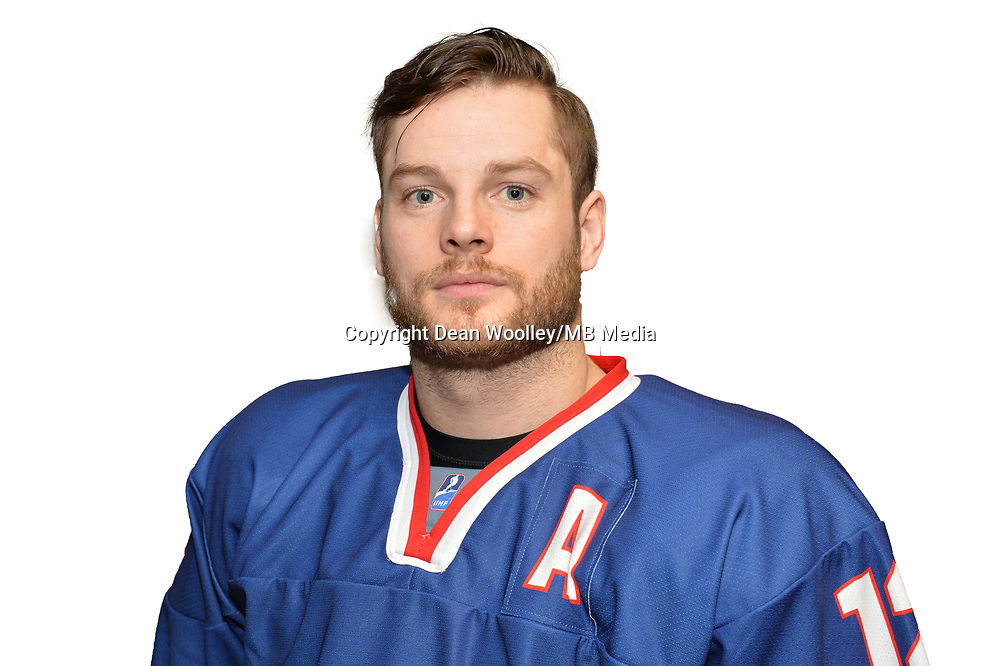 BUDAPEST, HUNGARY - APRIL 18:  Great Britain Ice Hockey Team Forward, Robert Dowd. IIHF World Championship Division 1A (Photo by Dean Woolley)