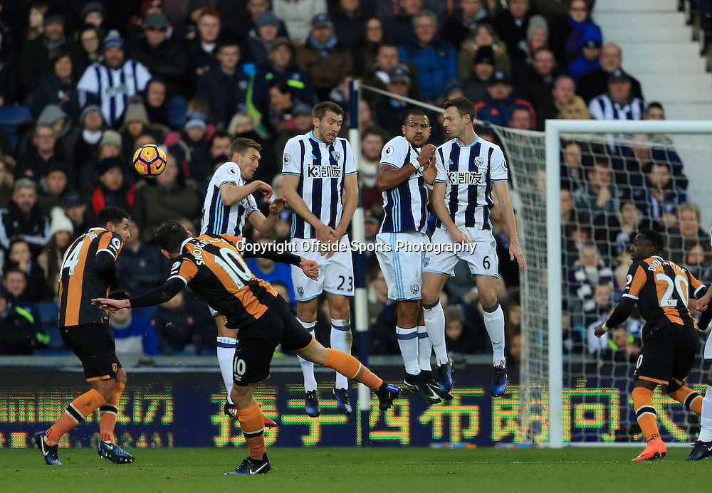 2 January 2017 - Premier League - West Bromwich Albion v Hull City - Robert Snodgrass of Hull City bends a free kick around the West Bromwich Albion wall - Photo: Paul Roberts / Offside.