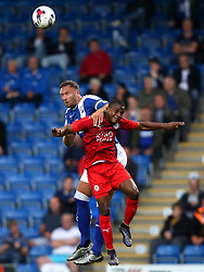 Ian Evatt of Chesterfield challenges for a header with Adi Muskwe of Leicester City - Mandatory by-line: Matt McNulty/JMP - 02/08/2016 - FOOTBALL - Pro Act Stadium - Chesterfield, England - Chesterfield v Leicester City - Pre-season friendly