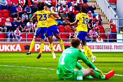 Marek Rodak of Rotherham United watches on as Lee Camp of Birmingham City players celebrate the goal that gives them the lead - Mandatory by-line: Ryan Crockett/JMP - 22/04/2019 - FOOTBALL - Aesseal New York Stadium - Rotherham, England - Rotherham United v Birmingham City - Sky Bet Championship