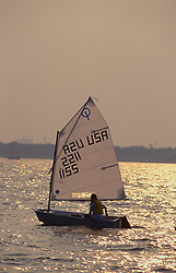 Stock photo of a competitive sailboat on the water