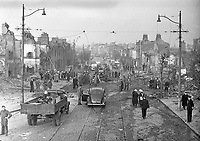 The North Strand the morning after the Geman bombing, On the night of 31st  May 1941, four high-explosive bombs were dropped by German aircraft on the North Strand area of Dublin City, The casualties were many: 28 dead and 90 injured, with 300 houses damaged or destroyed, 01/06/1941<br /> (Part of the Independent Newspapers Ireland/NLI collection).