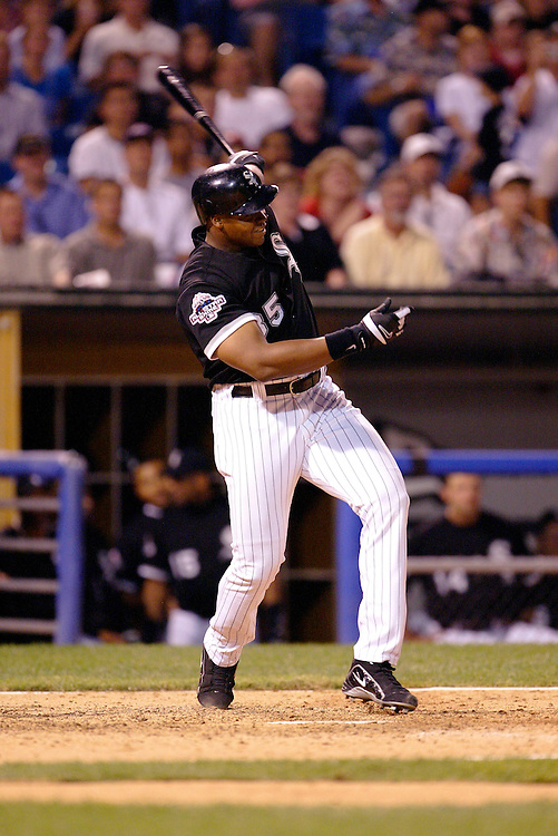 CHICAGO - JULY 25:  Frank Thomas #35 of Chicago White Sox hits his 400th career home run against the Tampa Bay Devil Rays in the 5th inning on July 25, 2003 at U.S. Cellular Field in Chicago, Illinois.  (Photo by Ron Vesely)