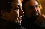 Shrin Ebadi, winner of the 2003 Nobel Peace Prize for her efforts towards democratic and human rights reforms in Iran, speaks in Brussels on Thursday, Feb. 26, 2004. (Photo © Jock Fistick)