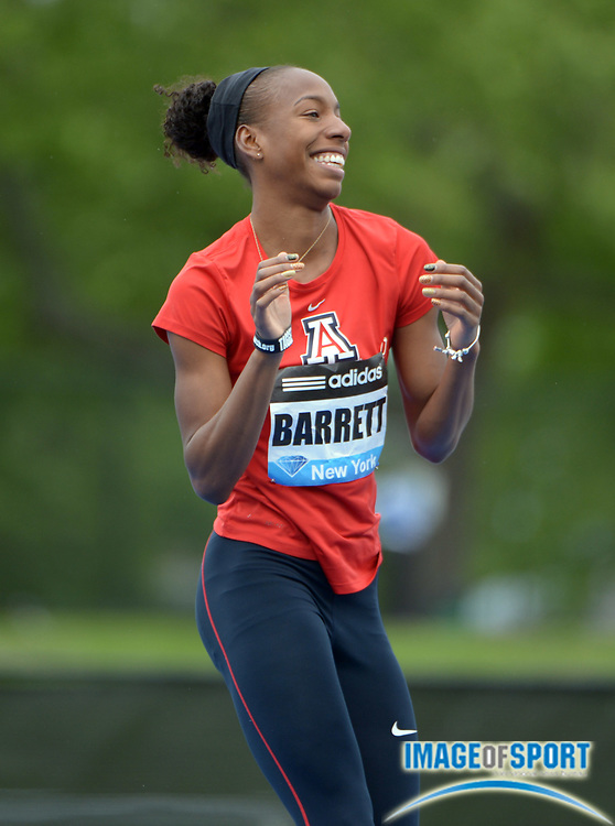 May 25, 2013; New York, New York, USA; Brigetta Barrett of Arizona reacts during the womens high jump in the 2013 Adidas Grand Prix at Icahn Stadium. Barrett placed third at 6-3 1/4 (1.91m).