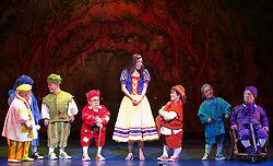 "© Licensed to London News Pictures. 06/12/2012. London, England. Lizzie Jay-Hughes as Snow White, to her left, Warwick Davis as the Prof. Priscilla Presley makes her pantomime debut in ""Snow White and the Seven Dwarfs"" at the New Wimbledon Theatre, Wimbledon, from 7 December 2012 to 13 January 2013. Warwick Davis and Jarred Christmas star alongside her. Images from the Dress Rehearsal. Photo credit: Bettina Strenske/LNP"
