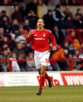 Photo: Leigh Quinnell.<br /> Nottingham Forest v Swansea. Coca Cola League 1. 11/02/2006. Nathan Tyson celebrates his goal for Nottingham Forest.