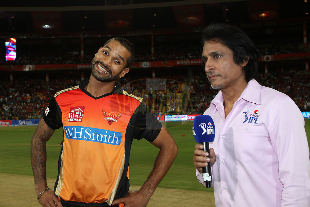 Shikhar Dhawan captain of the Sunrisers Hyderabad interviewed before the toss during match 24 of the Pepsi Indian Premier League Season 2014 between the Royal Challengers Bangalore and the Sunrisers Hyderabad held at the M. Chinnaswamy Stadium, Bangalore, India on the 4th May  2014<br /> <br /> Photo by Ron Gaunt / IPL / SPORTZPICS<br /> <br /> <br /> <br /> Image use subject to terms and conditions which can be found here:  http://sportzpics.photoshelter.com/gallery/Pepsi-IPL-Image-terms-and-conditions/G00004VW1IVJ.gB0/C0000TScjhBM6ikg