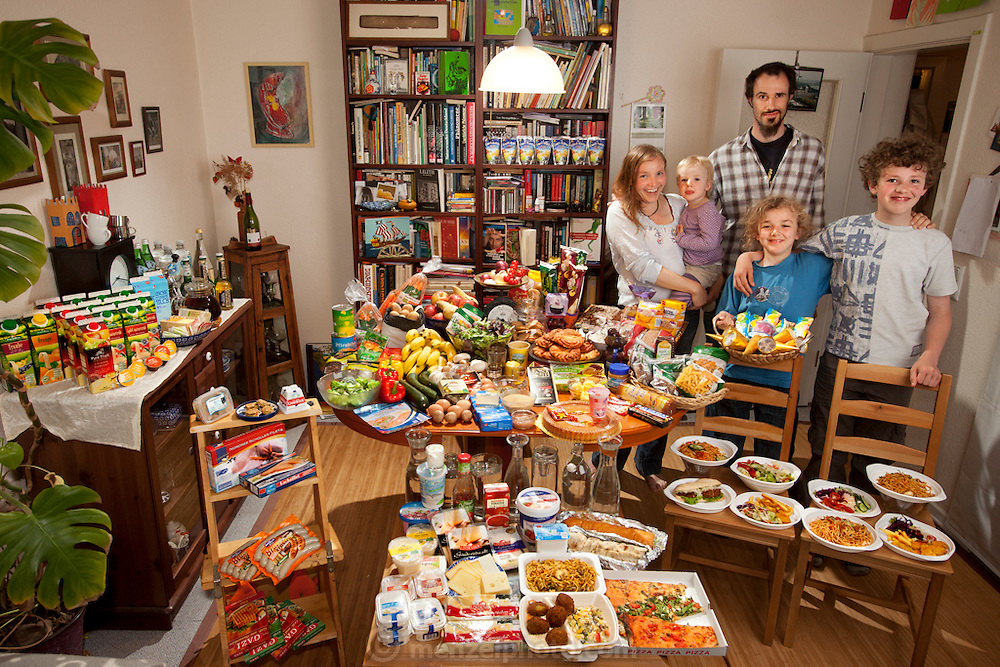 The Sturm Family of Hamburg, Germany. Astrid Hollmann, 38, and Michael Sturm, 38, and their three children Lenard, 12, Malte Erik, 10, and Lillith, 2.5, with their typical week&rsquo;s worth of food in June. <br /> ONE WEEK&rsquo;S FOOD IN JUNE<br /> Food Expenditure for One Week: <br />  &euro; 253.29 ($325.81 USD)<br /> Model Released.