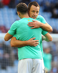 John Terry of Aston Villa praises James Chester of Aston Villa during the warm up session-Mandatory by-line: Nizaam Jones/JMP - 04/11/2017 - FOOTBALL - Villa Park - Birmingham, England - Aston Villa v Sheffield Wednesday - Sky Bet Championship