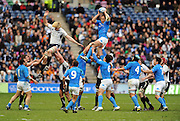 Italy captain Sergio Parisse wins a line out above Richie Gray at the tail of a line out.<br /> Scotland v Italy, Six Nations Championship, Murrayfield, Edinburgh, Scotland, Saturday 19th March 2010.<br /> Please credit ***FOTOSPORT/DAVID GIBSON***