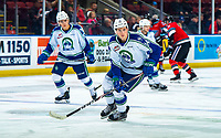 KELOWNA, BC - OCTOBER 16: Ben King #14 of the Swift Current Broncos warms up against the Kelowna Rockets  at Prospera Place on October 16, 2019 in Kelowna, Canada. (Photo by Marissa Baecker/Shoot the Breeze)