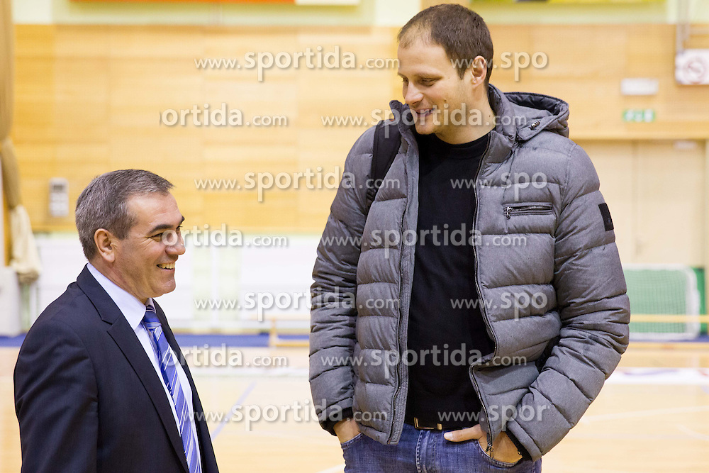 Roman Volcic of KZS and Raso Nesterovic  at press conference of Basketball federation of Slovenia, on March 13, 2013 in Kranjska Gora, Slovenia. (Photo by Vid Ponikvar / Sportida.com)