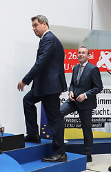 26.05.2019, Konrad Adenauer Haus, Berlin, GER, Europawahl 2019, Wahlabend der CDU, im Bild Dr. Markus Söder und Manfred Weber // during the Election evening of the CDU on the 2019 European elections at the Konrad Adenauer Haus in Berlin, Germany on 2019/05/26. EXPA Pictures © 2019, PhotoCredit: EXPA/ SM<br /> <br /> *****ATTENTION - OUT of GER*****